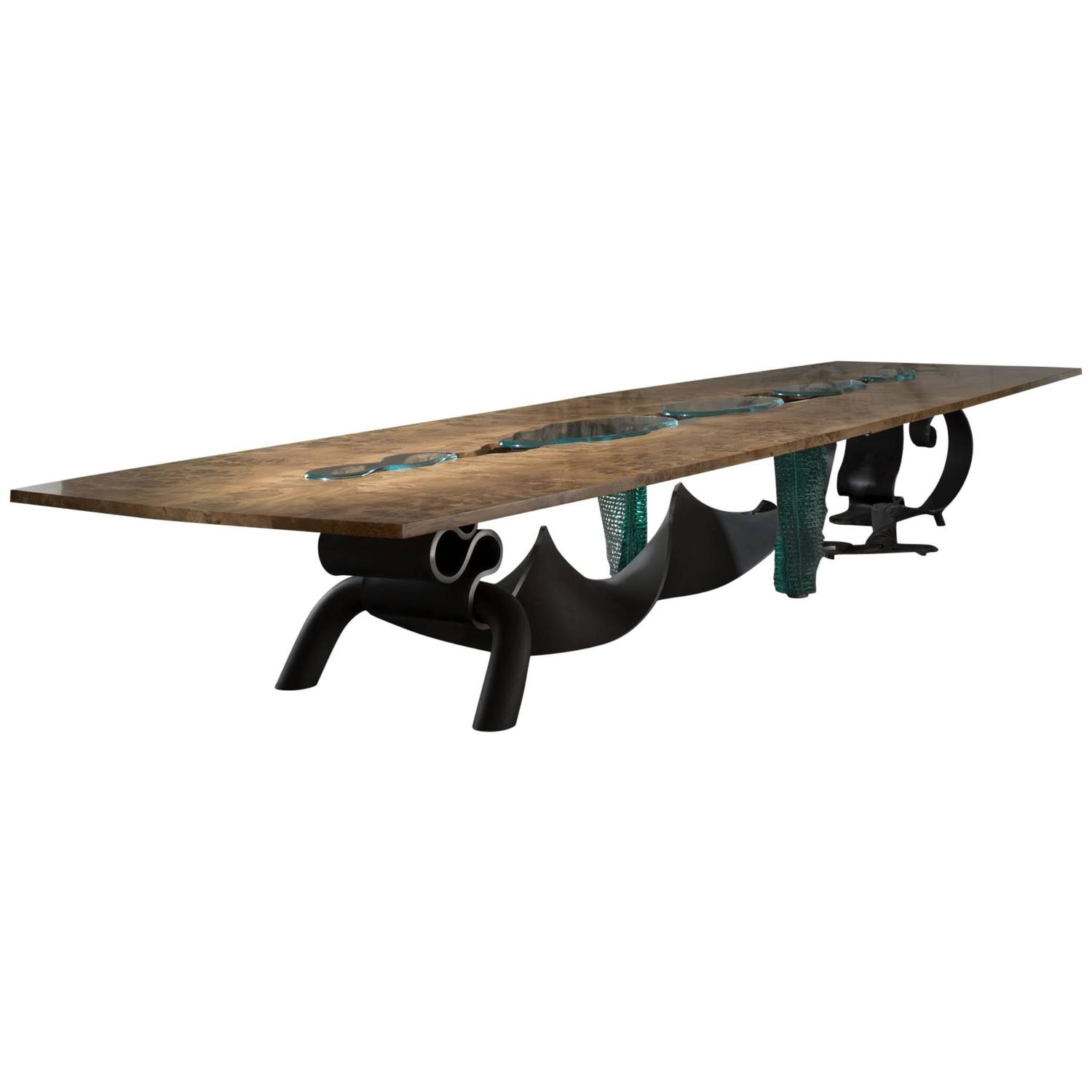Dragon Burr, Solid Burr Oak, Forged Steel And Glass Dining Table At 1stdibs