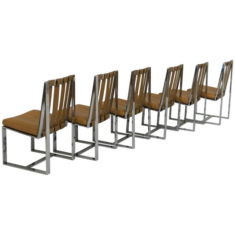 Rare Set of Six Flat Bar and Leather Milo Baughman Dining Chairs For Sale