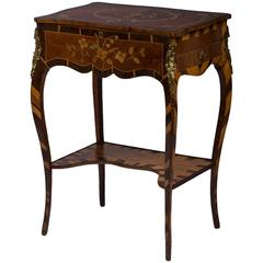 George III Amaranth, Tulipwood and Fruitwood Work Table Attributed to Langlois