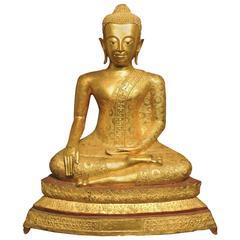 Large Antique 19th Century Thai, Rama IV Gilt Bronze Buddha