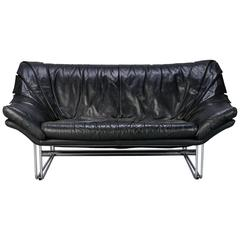 Mid-Century Small Black Leather and Chrome Sofa