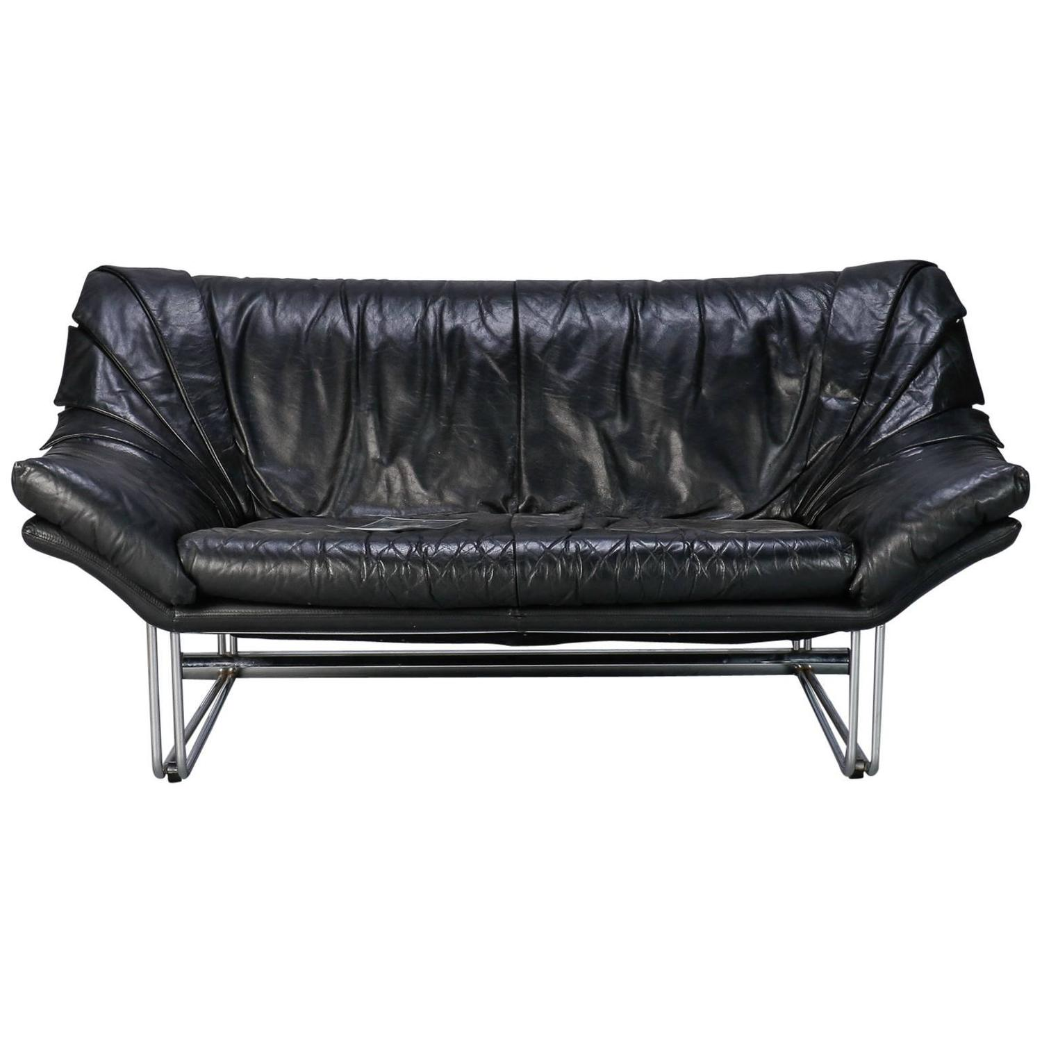 Mid Century Small Black Leather And Chrome Sofa At 1stdibs