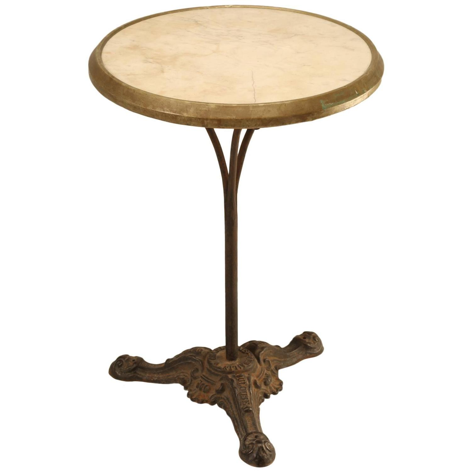 French Bistro Table In Cast Iron And Marble For Sale At 1stdibs