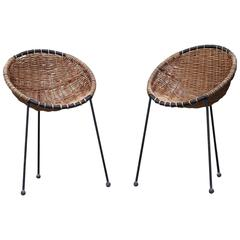 Rare Basket Tripod Chairs Attributed to Jean Royère