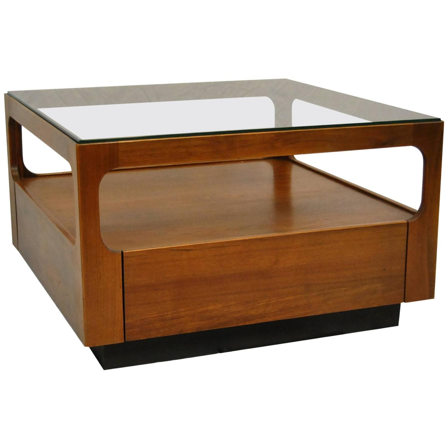 Midcentury Teak Glass Top Coffee Table Designed by John Keal for