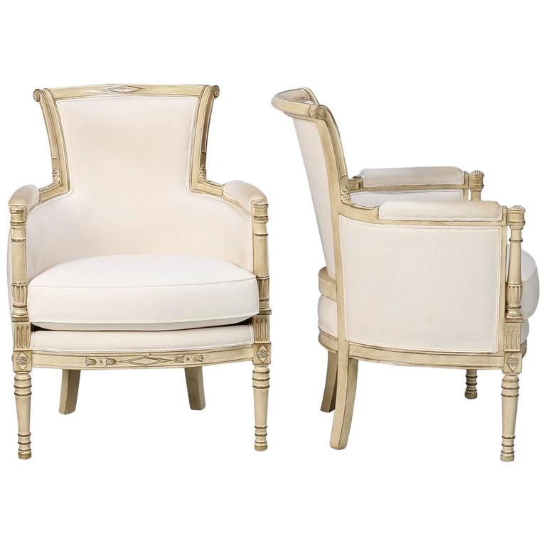 Pair of Louis XVI Style White Painted Bergeres