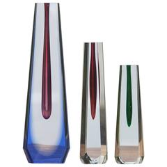 Blue Red Green Vase Set by Pavel Hlava