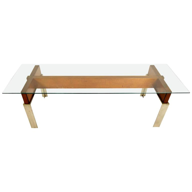 Mid-Century Modern Chrome and Wood Coffee Table
