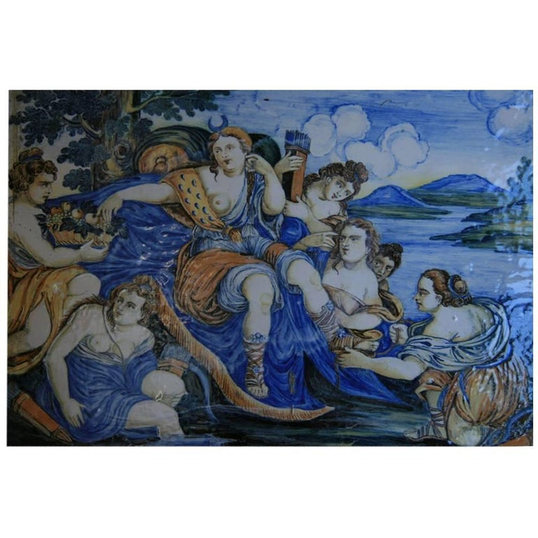 Large Italian Majolica Plaque For Sale