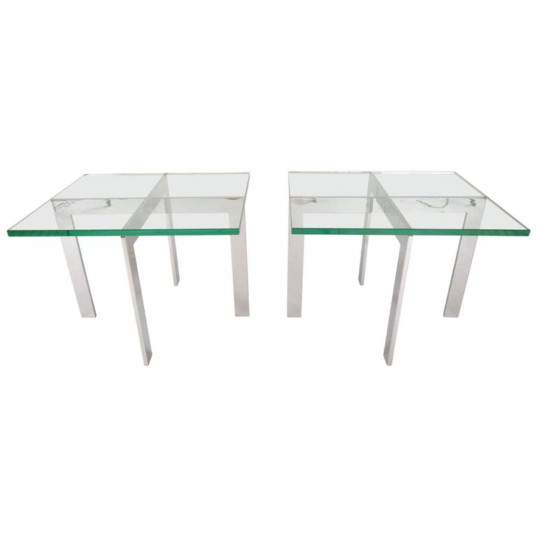Pair of Mid-Century Modern End Tables in the style of Milo Baughman