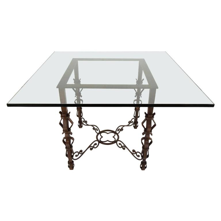 Spanish style square glass top center table with iron base for Cuir center table basse