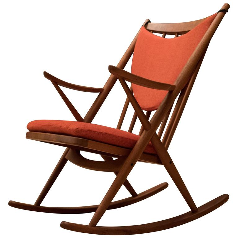 Vintage Danish Bramin Teak Rocking Chair For Sale at 1stdibs