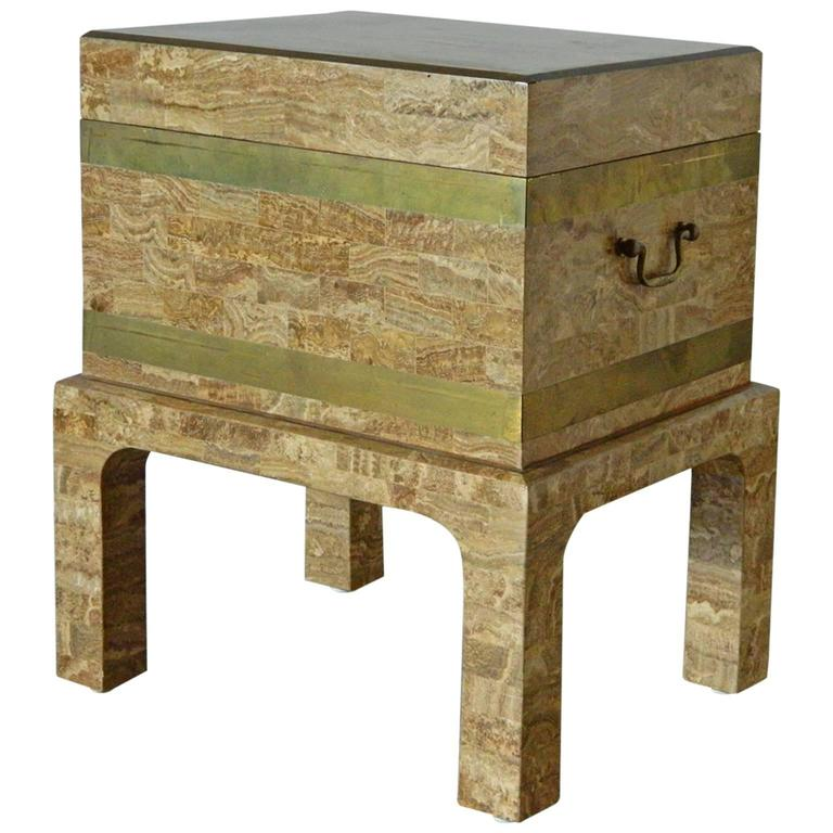 Maitland Smith Tesselated Stone and Brass Box on Stand