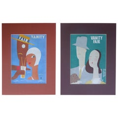 Pair of Vintage Art Deco 1929 and 1930 Vanity Fair Covers by Benito