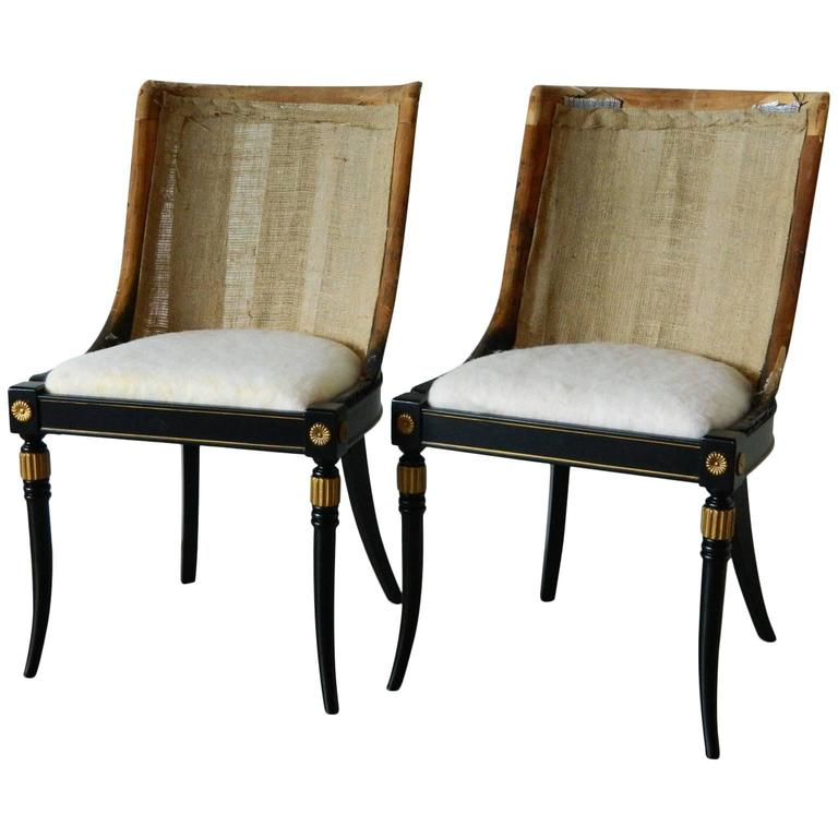 Pair of Regency-Style Chair Frames For Sale