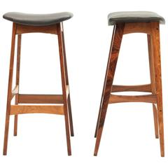 Set of Two Danish, Mid-Century Rosewood Stools by Dyrlund