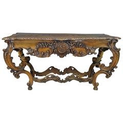 19th C. Italian Baroque Carved Walnut Center Table in the French Louis XV Taste