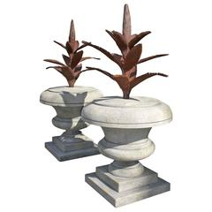 Late 20th Century Agave in Limestone Finial Urns
