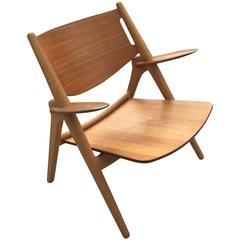 Hans J Wegner Sawbuck CH-28 Lounge Chair for Carl Hansen