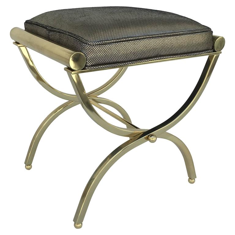 Polished Brass And Leather Vanity Stool By Charles Hollis Jones 1