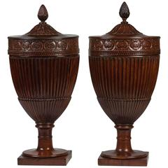 Pair of George III Carved Mahogany Dining Urns