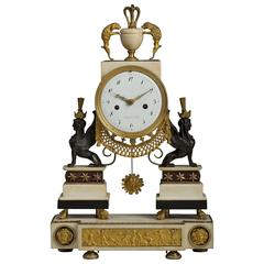 Louis XVI Marble, Ormolu and Patinated Bronze Mantel Clock