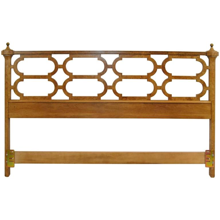 King Size Olivewood Headboard With Brass Finials By