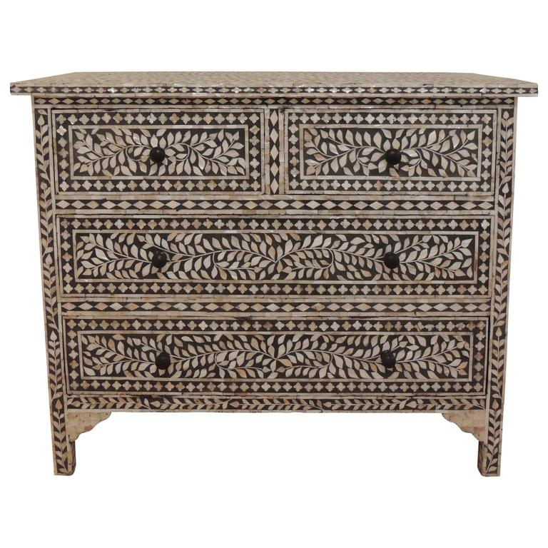 black and white mother of pearl tall dresser at 1stdibs. Black Bedroom Furniture Sets. Home Design Ideas