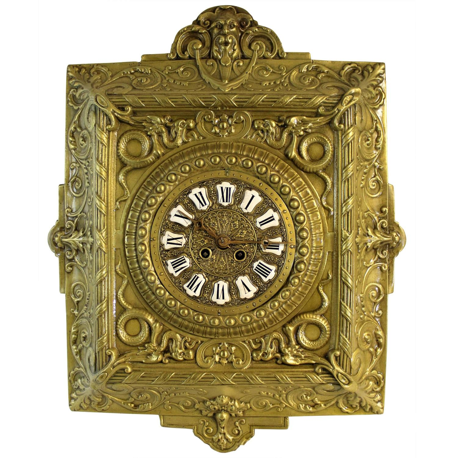 antique french repousse wall clock for sale at 1stdibs