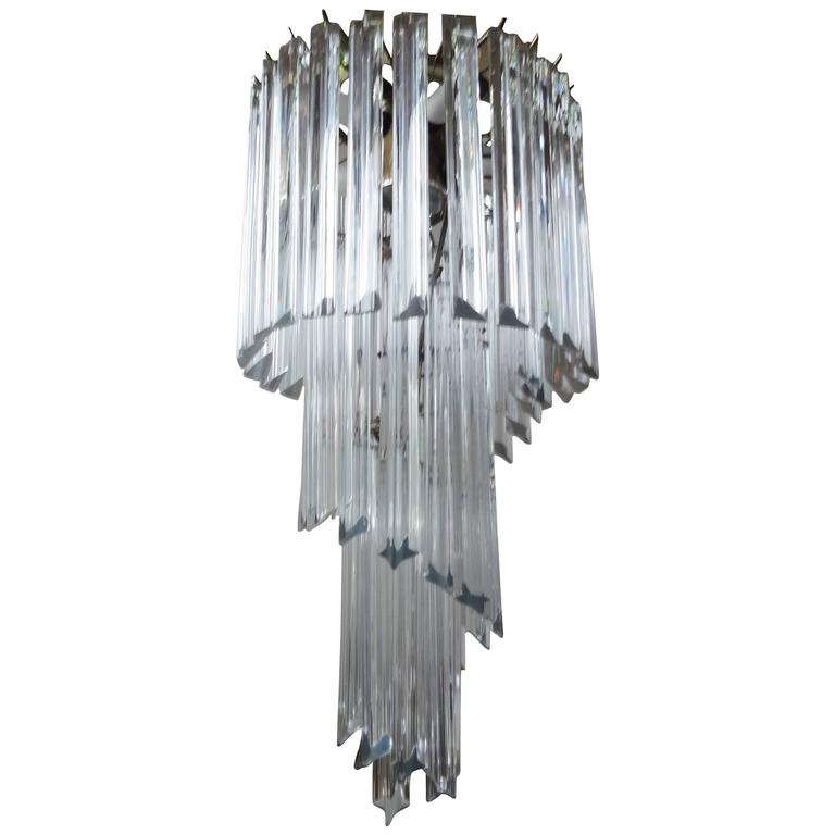 Venini inspired clear murano glass prism spiral chandelier for sale venini inspired clear murano glass prism spiral chandelier for sale aloadofball Images