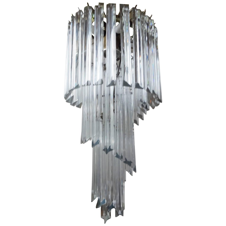 Murano Spiral Chandelier: Venini Inspired Clear Murano Glass Prism Spiral Chandelier