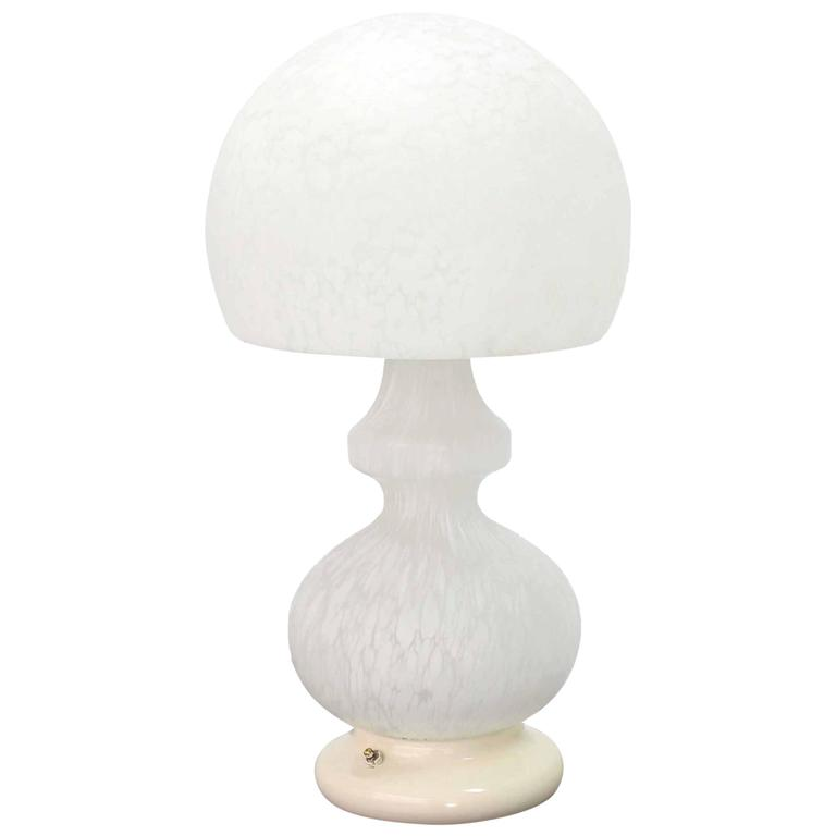 Textured Milk Murano Glass Mushroom Table Lamp