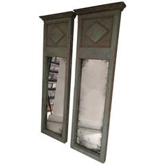 Pair of Spanish Green Wooden Trumeau Mirrors