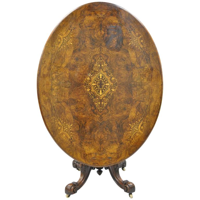 19th Century Victorian Carved Burl Walnut Tilt-Top Marquetry Inlay Center Table For Sale