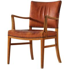 Danish Armchair in Oak and Cognac Leather