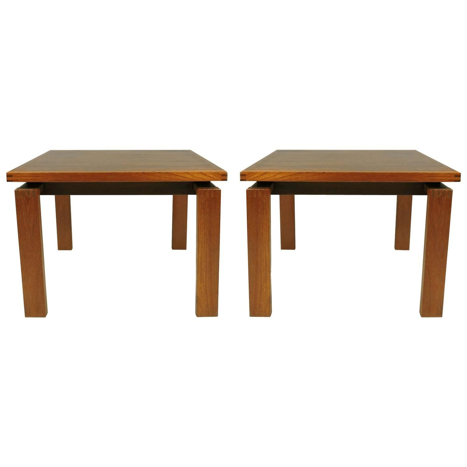 Pair of Danish Mid Century Modern Teak Side Tables by Trioh Mobler
