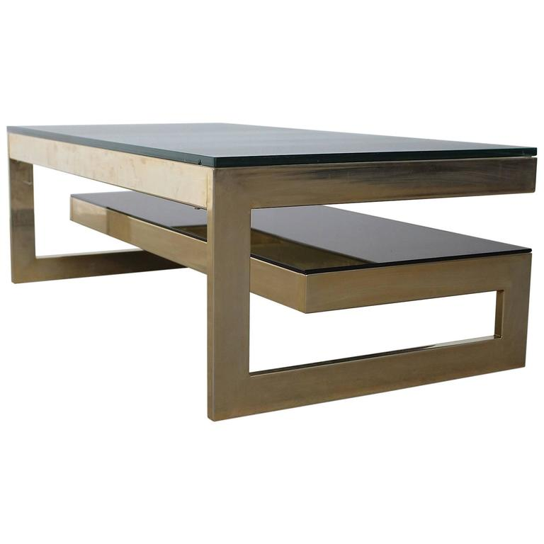GShaped Carat GoldPlated TwoLevel Coffee Table Maison Jansen - Two level coffee table