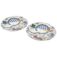 Pair of Fornasetti Hot Air Balloon Race Porcelain Plates