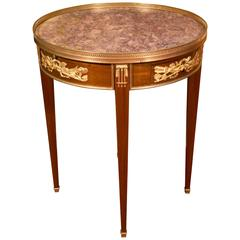 Pedestal Louis XVI Style Mahogany and Gilt Bronze, Marble Top, 19th Century
