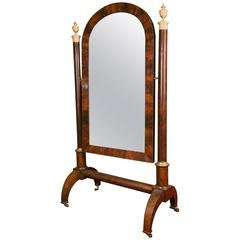 Important Empire Cheval Mirror from the 19th Century in Mahogany and Gold Gilt