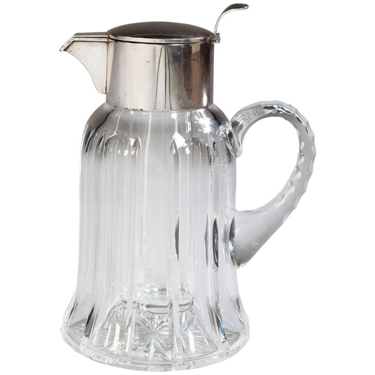 Solid Silver and Cut Glass Crystal Lemonade Jug by Asprey  For Sale