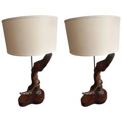 Pair of Sculptural California Driftwood 1960s Table Lamps