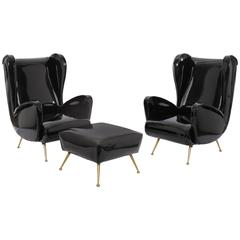 Chic Pair of Patent Leather and Brass Italian Lounge Chairs and Ottoman