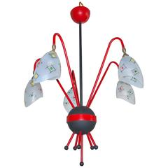 French 1950s Googie Atomic Chandelier