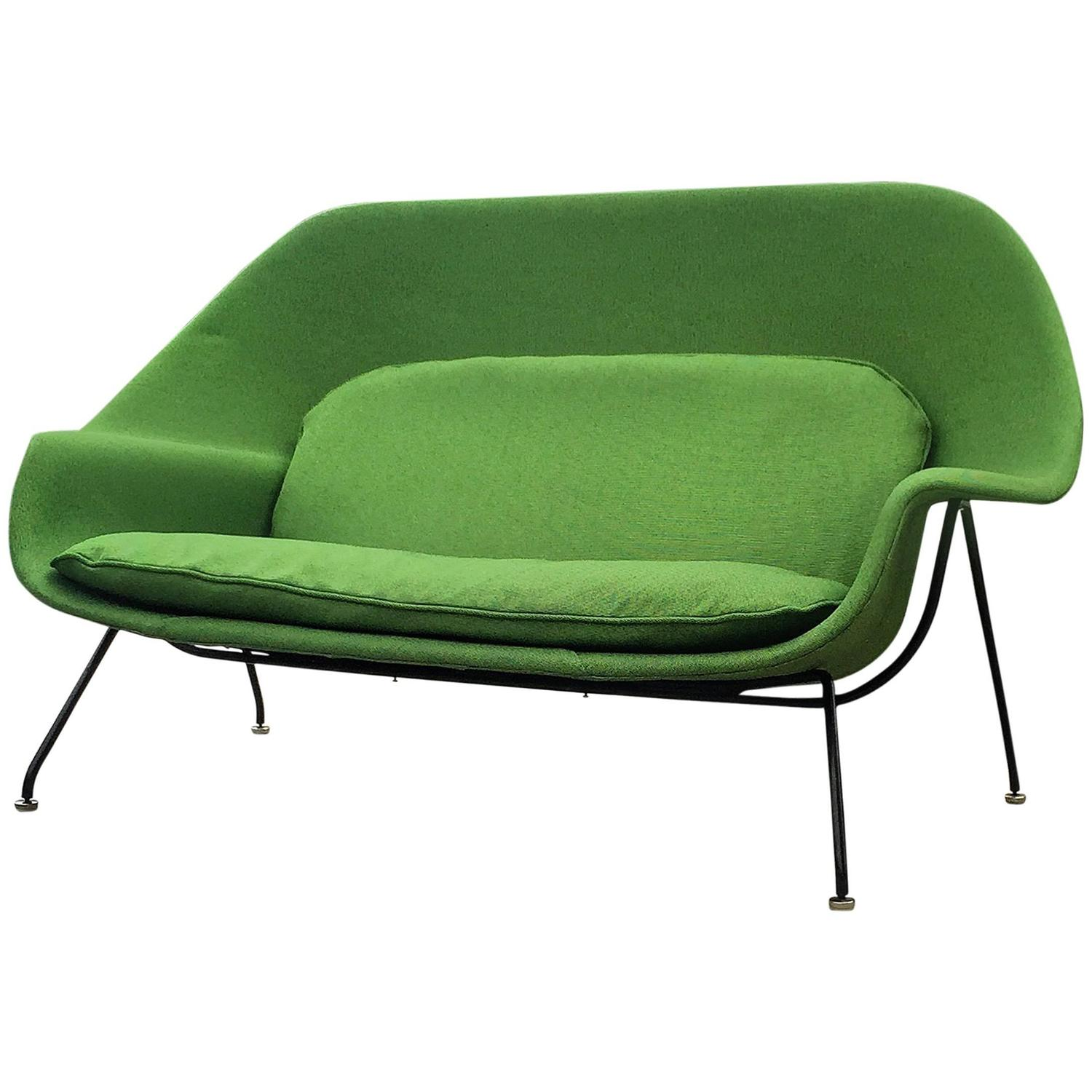 Early vintage eero saarinen for knoll womb settee sofa for sale at 1stdibs - Vintage womb chair for sale ...