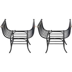 Pair of Black Painted Wrought Iron Window Seats or Stools