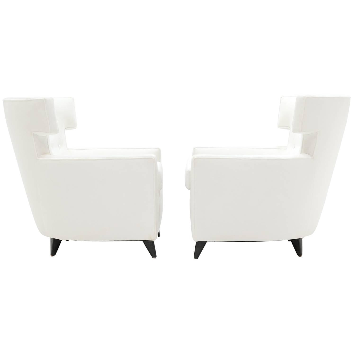Pair of amazing wingback lounge chairs in the manner of gio ponti at