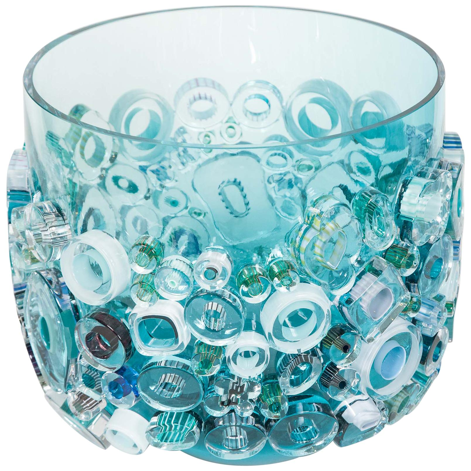 Common Ray in Aqua Light, a turquoise & blue Glass Centrepiece by Sabine Lintzen