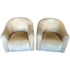 A. Rudin Nubby Fabric Club Chairs with Original Labels