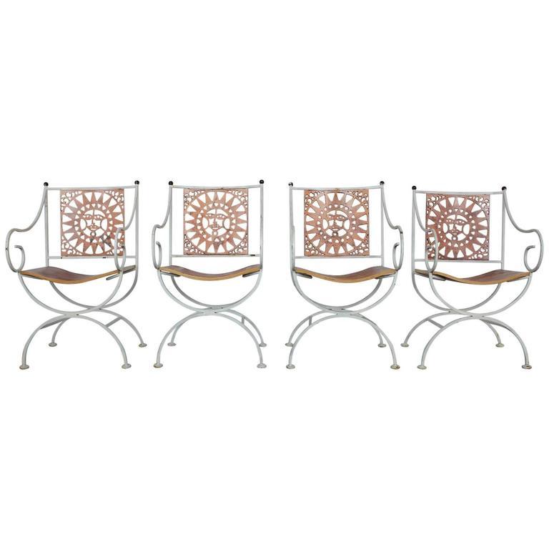 Mid-Century Wrought Iron Sunburst Armchair by Arthur Umanoff